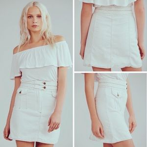 Free People Braided Belt White Denim Mini Skirt 6